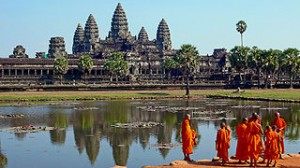 Buddhist monks in front of the Angkor Wat 300x168 Most Favourite Tourist Attraction in Asia By TripAdvisor