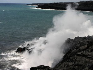 Lava enter Pacific in Hawaii volcano NP 300x227 Best Volcano Holiday Places in Hawaii