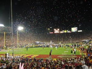 Rose Bowl post game celebration 300x225 Rose Bowl Game Celebration, The Largest Game Early Years.