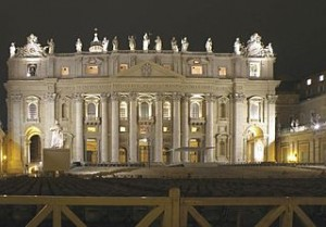 The Vatican Basilica at night 2008 300x209 New Pope Elected, Its Time to Take Vacation to Vatican