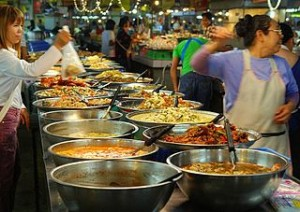 Thai market food 01 300x212 From The Bangkok Hawker Food to Fine Dining in Thai Restaurant
