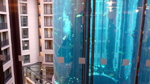 Diver in giant aquarium in the atrium of the SAS Radisson Berlin Germany 300x168 Vacation to Underwater Room