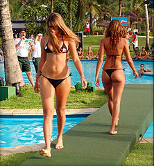 Two girls in g string bikinis on runway Meet Some Sexy Bikini Girls in Brisbane