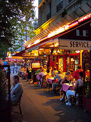 Paris Cafe Dusk Le Procope, Learn History in Cafe