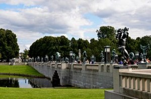 Bronze Sculptures Stand on Right Side of the Bridge   Vigeland Park Oslo 300x198 Best Humanist Figure of Vigeland Sculpture Park