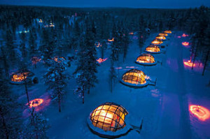 Rovaniemi   Igloo village 300x199 Glass Igloo of Kakslauttanen Arctic Resort, Finland Aurora Borealis