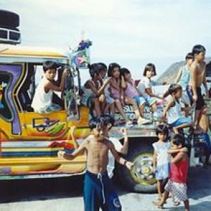 Jeepney_with_children_Samar